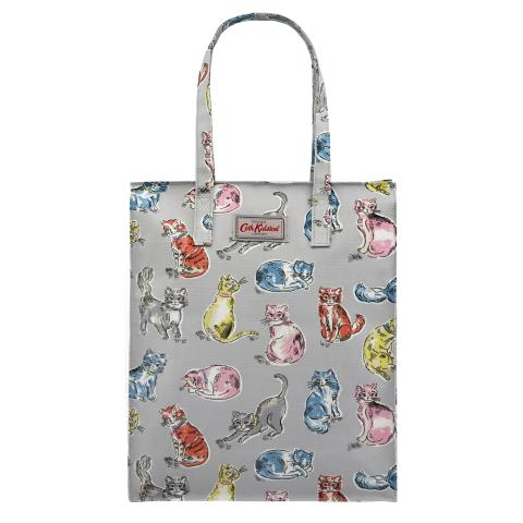 TALL ZIPPED SHOPPER CATS LIGHT GREY
