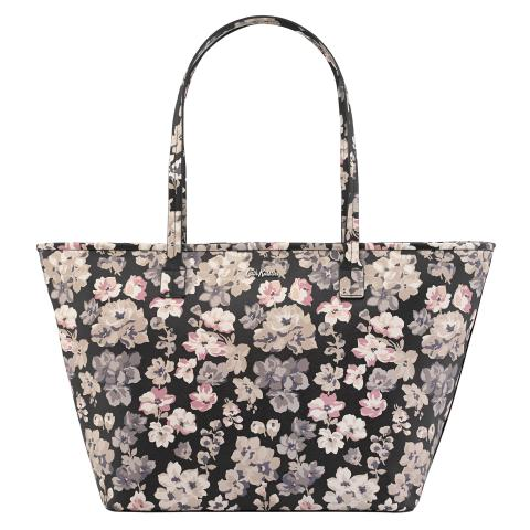 ZIPPED TOTE WOODSTOCK FLOWERS CHARCOAL