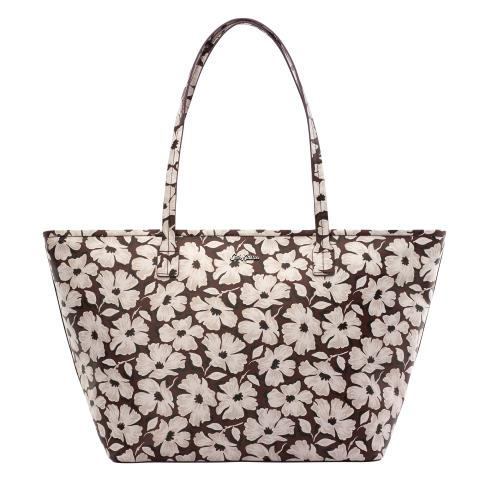 ZIPPED TOTE STAMP FLORAL BURGUNDY
