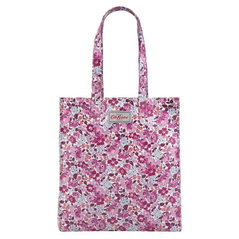 BOOK BAG O/C WELHAM FLOWERS CERISE