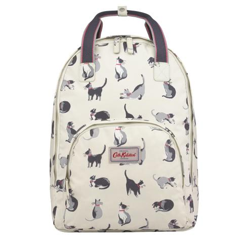 MULTI POCKET BACKPACK PAINTED CATS CREAM