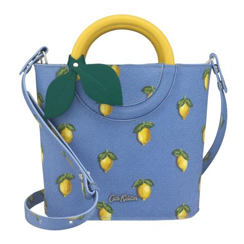 LEMON HANDLE MINI BUCKET BAG LITTLE LEMONS RIVIERA BLUE