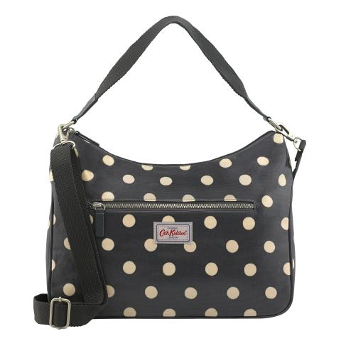 BUTTON SPOT CHARCOAL CURVE SHOULDER BAG