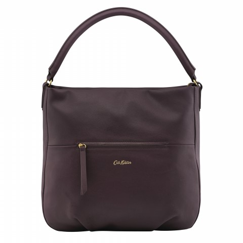 LEATHER HOBO HANDBAG MAROON