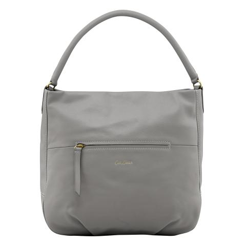 LEATHER HOBO HANDBAG SOFT GREY