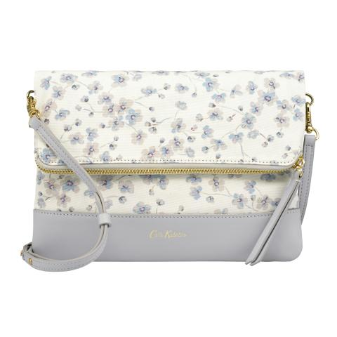 LEATHER FOLDOVER CLUTCH SOLID ICE GREY