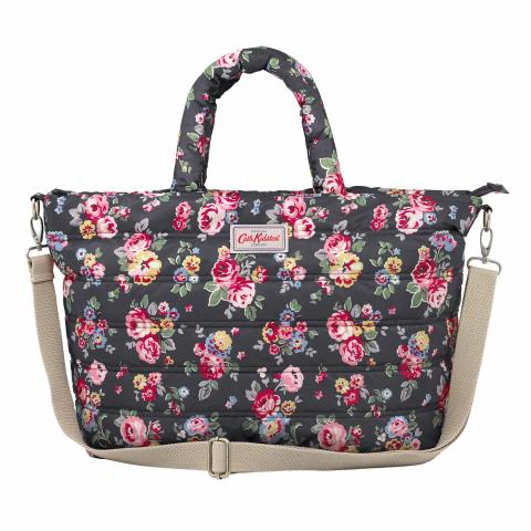 QUILTED NAPPY BAG WELLS ROSE CHARCOAL