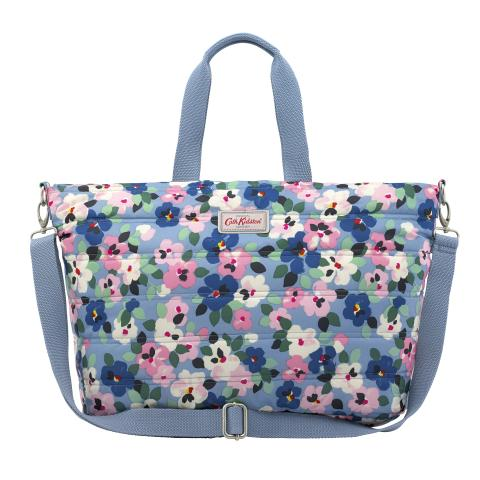QUILTED TOTE BAG LARGE PAINTED PANSIES GREY BLUE