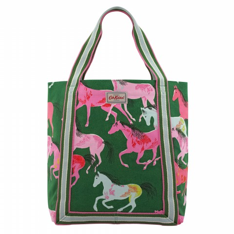 REVERSE COATED TOTE PAINTED HORSES GREEN