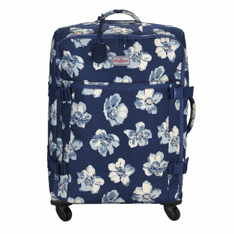 LARGE FOUR WHEEL SUITCASE SCATTERED ANEMONE NAVY
