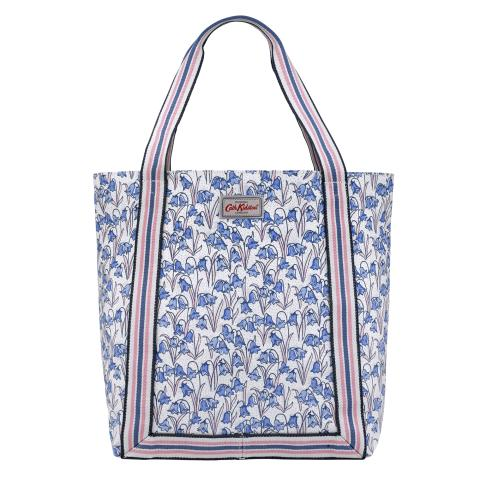 REVERSE COATED TOTE BLUEBELLS CREAM BLUE