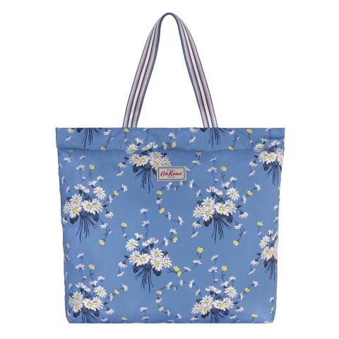 LARGE FOLDAWAY TOTE DAISIES & BUTTERCUPS RIVIERA BLUE