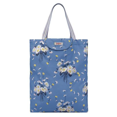 TOTE FOLDAWAY DAISIES & BUTTERCUPS RIVIERA BLUE