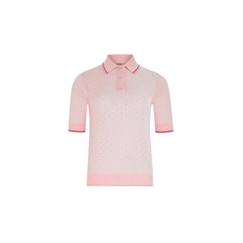 BLUSH KNITTED POLO TOP