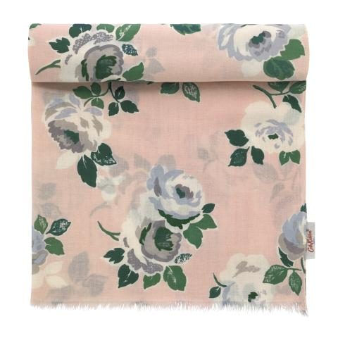 SHAWL PAPER ROSE SCATTERED POWDER PINK