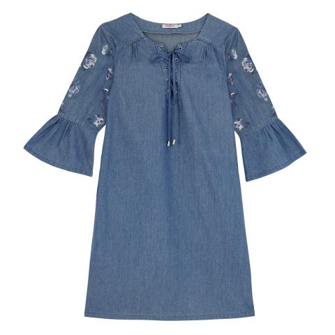 EMBROIDERED CHAMBRAY DRESS 8