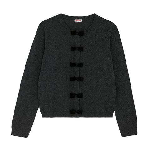SOLID CHARCOAL BOW DETAIL CARDIGAN