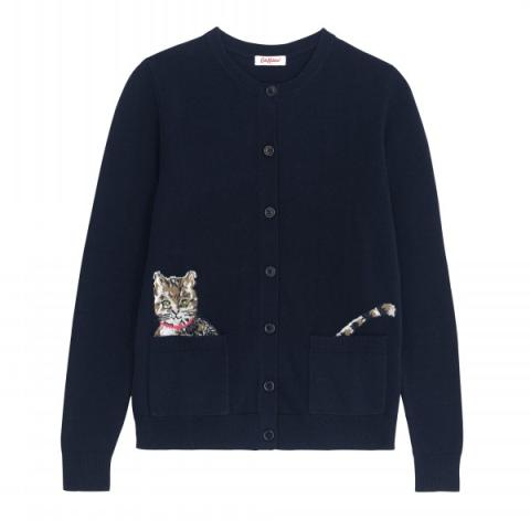 CAT AND FLOWERS CARDIGAN M