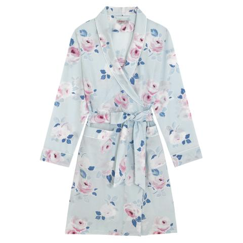 WOVEN DRESSING GOWN  PAPER ROSE SCATTERED POWDER BLUE