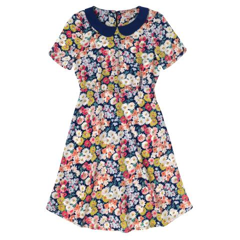 LUCINDA POLYESTER DRESS DAISY BED NAVY