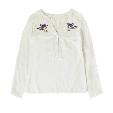 EMBROIDERED BLOUSE BIRD EMBROIDERY IVORY 8