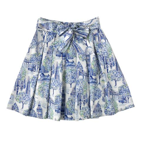 COTTON SATEEN SKIRT LONDON TOILE MID BLUE 6