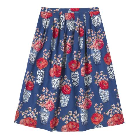 COTTON PLEATED MIDI SKIRT BLOSSOM VASES SOFT NAVY 8