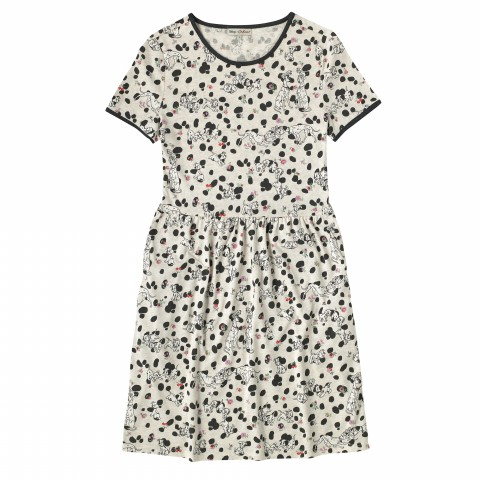 DISNEY VISCOSE ELASTANE T-SHIRT DRESS DALMATIAN SPOT SOFT STONE 8