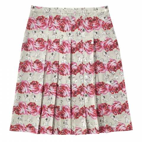 DISNEY POLYESTER PLEATED SKIRT PUPPIES & ROSES OFF WHITE 8