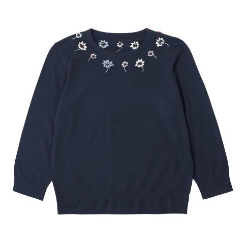 VISCOSE BLEND EMBROIDERED JUMPER LULWORTH FLOWERS NAVY S