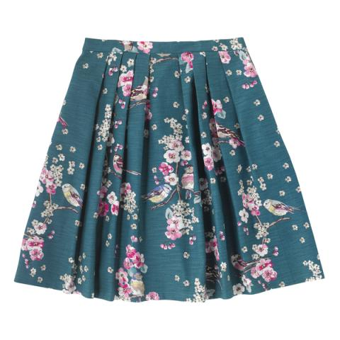 BARK CLOTH PLEATED SKIRT SCATTERED MEADOWFIELD BIRDS TEAL 6