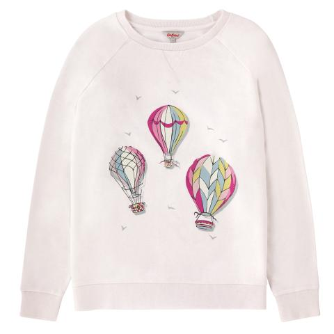 COTTON PLACEMENT SWEATSHIRT HOT AIR BALLOONS SOFT LILAC S
