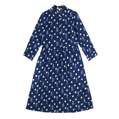 DISNEY VISCOSE CREPE SHIRTDRESS TINKER BELL BUTTON SPOT NAVY