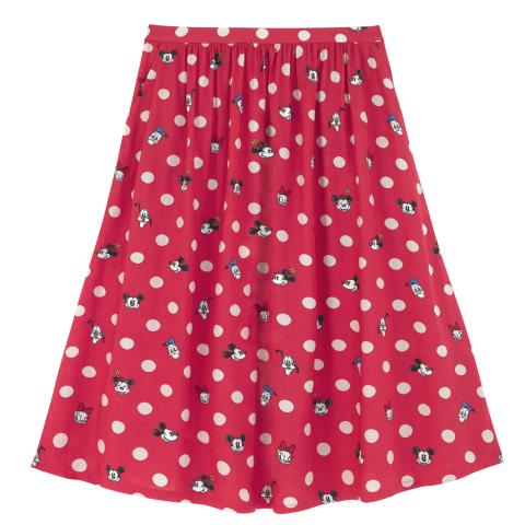 DISNEY FLAT VISCOSE SKIRT MICKEY & FRIENDS BUTTON SPOT RED S