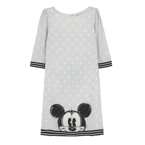 DISNEY CREPE DRESS  MICKEY & FRIENDS PLACEMENT LIGHT GREY 10