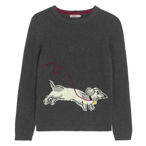 DOG INTARSIA JUMPER MONO DOG PLACEMENT LIGHT GREY S