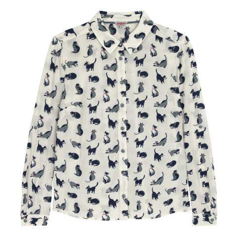 FLAT VISCOSE SHIRT SMALL PAINTED CATS IVORY 8