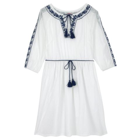COTTON EMBROIDERED DRESS EMBROIDERY OFF WHITE BLUE 12
