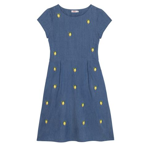 CHAMBRAY DRESS WITH LEMON EMBROIDERY EMBROIDERY MID WASH 8