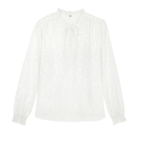 SOLID PIE CRUST DOBBY BLOUSE SOLID IVORY 12