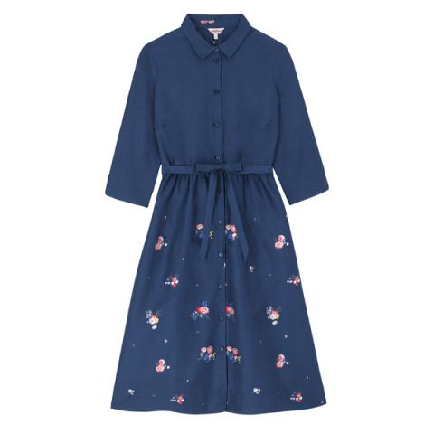 CLEAN LINE SHIRT DRESS  BUSBY BUNCH SCATTERED  NAVY 6