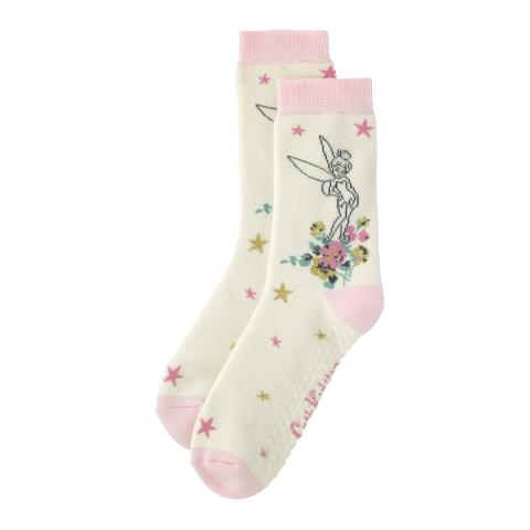 DISNEY BED SOCKS TINKER BELL SMUDGE SPOT OFF WHITE