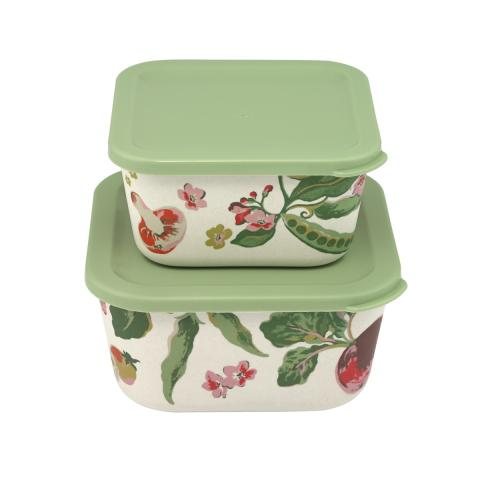 Garden Veg Set of two Bamboo Lunch Boxes