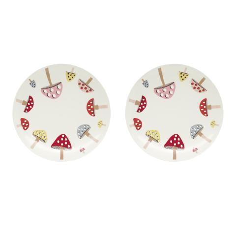 Mini Mushrooms Boxed Set of Two Plates