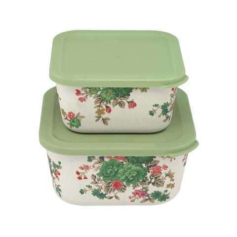 Washed Roses Set of Two Bamboo Lunch Boxes