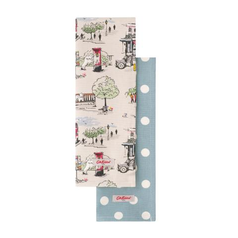 2 TEA TOWELS SET BILLIE GOES TO TOWN
