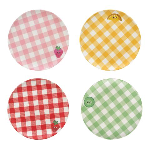 SET OF 4 PLATES GINGHAM CHECK