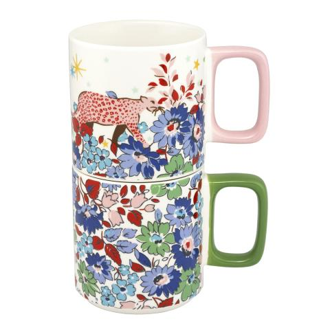 SET OF TWO STACKABLE MUGS DREAM FOREST