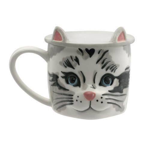 CAT SHAPED MUG WITH COASTER