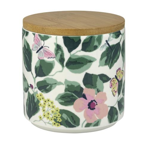 STORAGE POT WITH LID MORNINGTON LEAVES OFF WHITE GREEN
